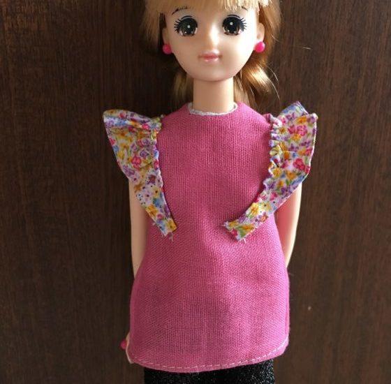 ドール服、初心者におすすめ肩のフリルがキュートなカットソーの作り方
