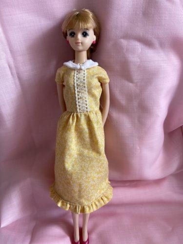 ドール服、ジェニーに似合うかわいい!丸襟ワンピースの作り方