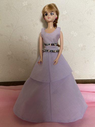 ドール服、ウエストフリルがかわいいロングドレスの作り方