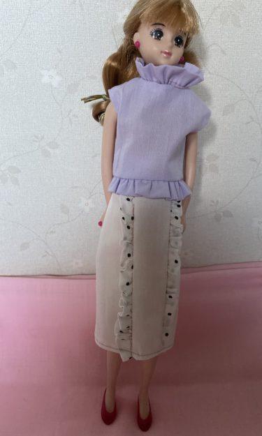 ドール服、ガーリー風フリルがかわいい!タイトスカートの作り方
