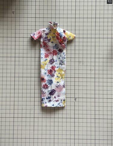 ドール服、ジェニー用にハンドメイドで「チャイナドレス」作り